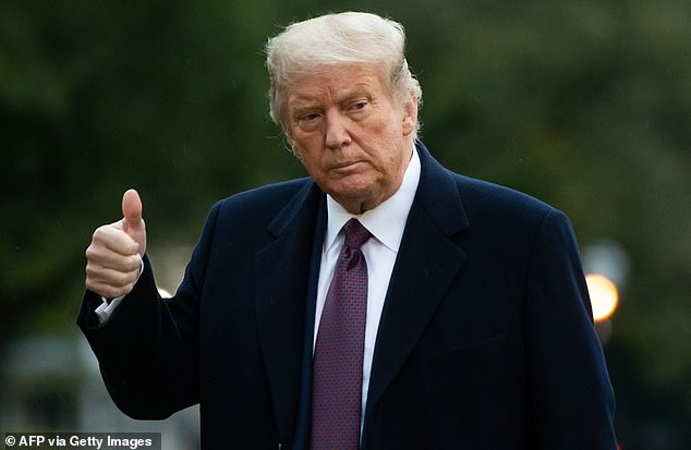 THURSDAY: Donald Trump gives a thumbs up as he walks from Marine One after arriving on the South Lawn of the White House in Washington, DC, October 1, 2020, following campaign events in New Jersey hours before revealing he has COVID-19