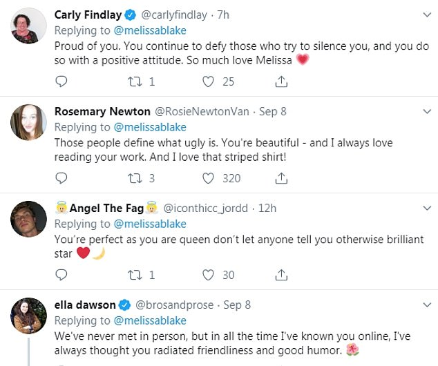Kind words: Thousands of people praised her for hitting back at her trolls