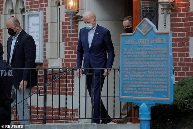 Biden, pictured leaving the church on Saturday, was last tested for coronavirus on Friday