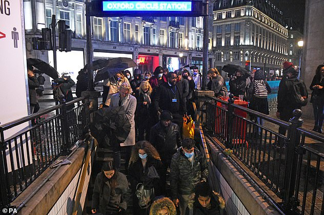 The preliminary hospital death total saw an increase of 122 per cent on the figure recorded last Saturday, when 23 people were confirmed to have died in hospital. Pictured: Oxford Circus on Friday