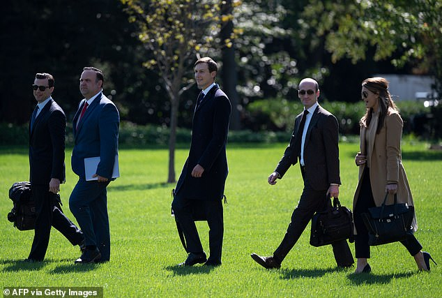 Here Luna (left) is seen walking to Marine One before Wednesday's Minnesota rally with (from L-R) Deputy Chief of Staff for Communications Dan Scavino, Senior Advisors Jared Kushner and Stephen Miller and Counselor to President Hope Hicks