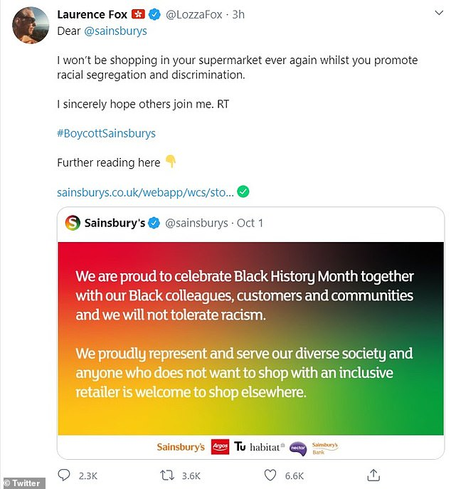 Sainsbury's said anyone who is not happy with 'an inclusive retailer' is welcome to shop elsewhere as it says it is proud to celebrate Black History Month with their communities