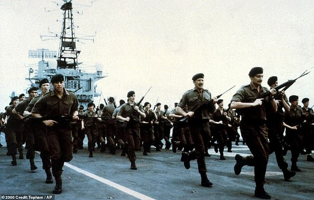 She was the flagship of the British fleet during the Falklands war. Pictured: Marines train on the deck of the HMS Hermes in 1982