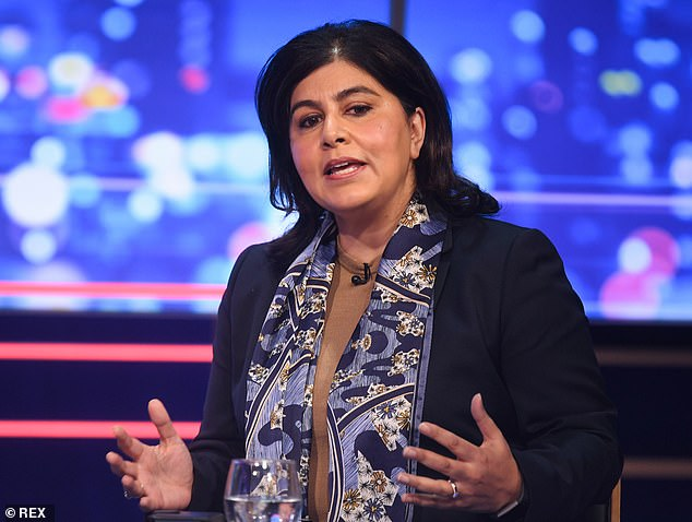 Baroness Warsi (pictured) argues it's time to give more thought to why a woman may be struggling with figures or facts during a TV appearance