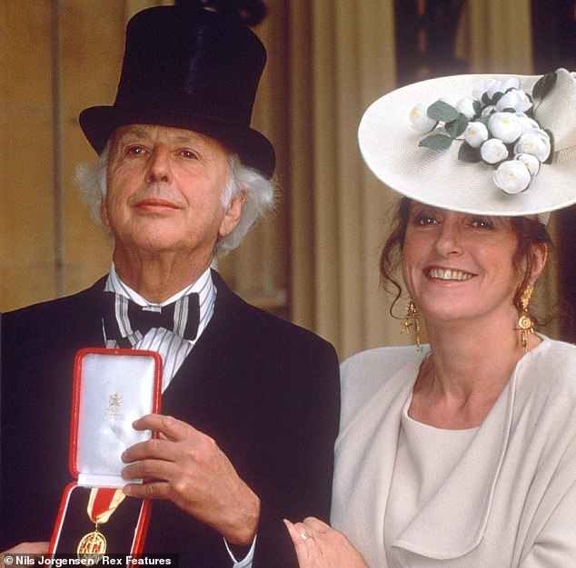 Mr Worsthorne, who was knighted in 1991 for services to journalism, was married twice.After his first wife died in 1990, he married the architectural writer Lucinda Lambton (pictured with him receiving his honour in 1991)