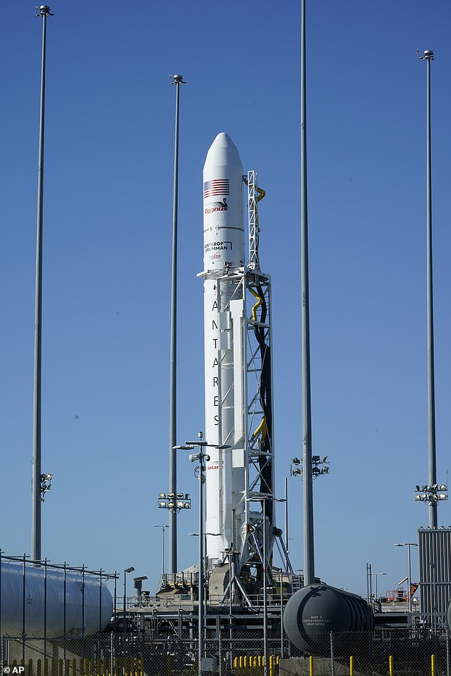 Northrup Grumman's Antares rocket before liftoff from NASA's test flight facility on Wallops Island, Virginia. In addition to special food for the astronauts, the payload included radish seeds that will be planted and cultivated on the ISS