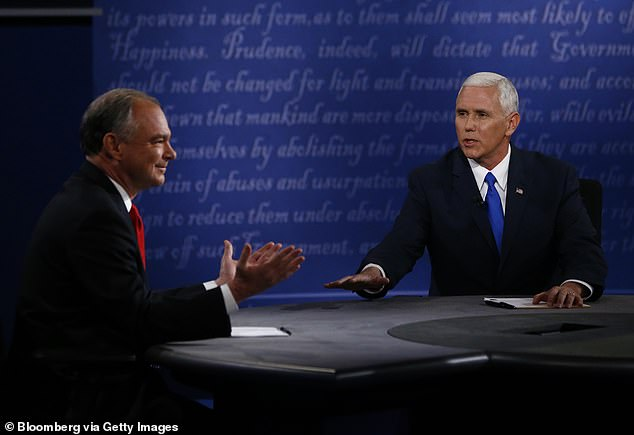 Four years ago, the Trump campaign was in similar peril when Pence (right) debated Democratic vice presidential nominee Tim Kaine (left). Pence was largely believed to have won that debate, at least stylistically