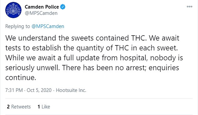 Police in Camden are carrying out tests to see how much THC was placed in each of the sweets