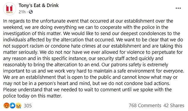 Tony's Eat and Drink shared a statement Tuesday saying they are cooperating with police and send their 'deepest condolences' to the victims
