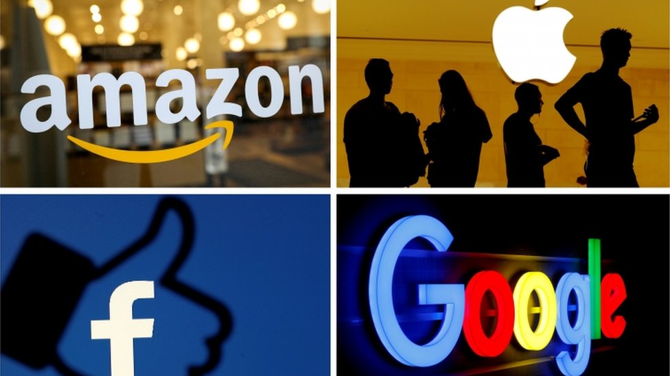 Losgos from Amazon, Apple, Facebook and Google.