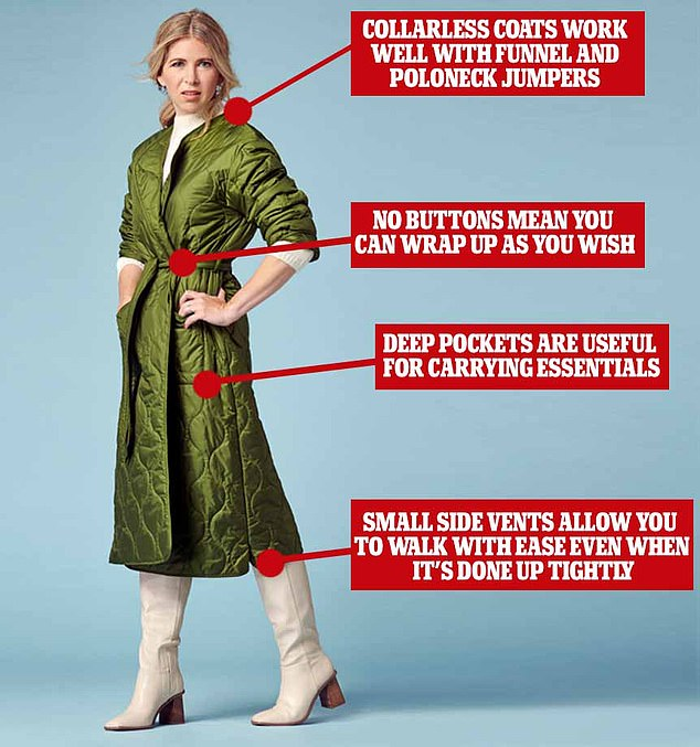 What to wear this weekend: FEMAIL picks out the best quilted khaki coats for this season