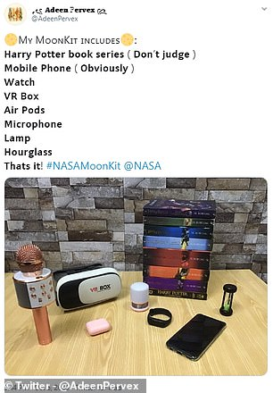 This user would take a set of Harry Potter books, a mobile phone, watch VR box, Air Pods, Microphone, lamp and houreglass