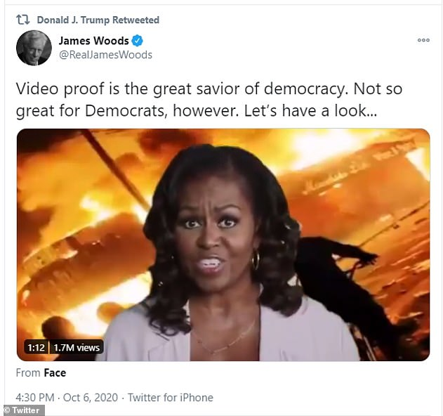 President Trump fired off 42 tweets Tuesday and overnight, including retweeting a video posted by actor James Woods where Michelle Obama's background was replaced with fires and urban unrest