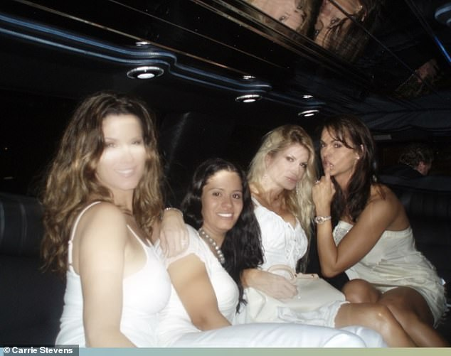 McDougal won Playboy's Playmate of the Year in 1998, just one year after she posed for her first Playboy shoot. Pictured: Stevens (left) with fellow Playmate Karen McDougal (far right)