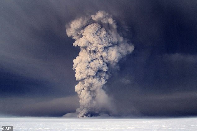 Smoke plumes from the Grimsvotn volcano, which lies under the Vatnajokull glacier, about 120 miles, (200 kilometers) east of the capital, Rejkjavik, which erupted in 2011