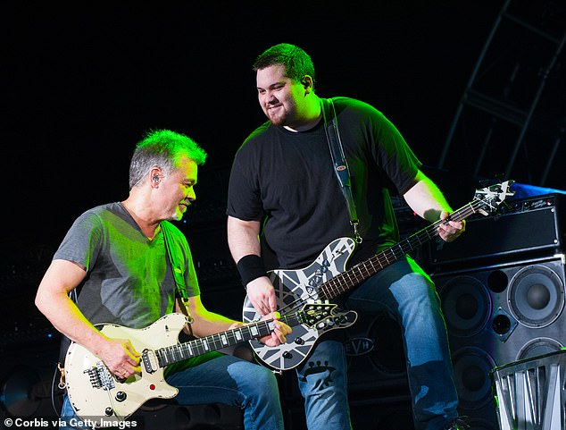 The pair were very close, especially since their bond was not only familial: Wolf joined his dad's legendary rock band back in 2007; seen here in 2015 on stage inWest Palm Beach, Florida