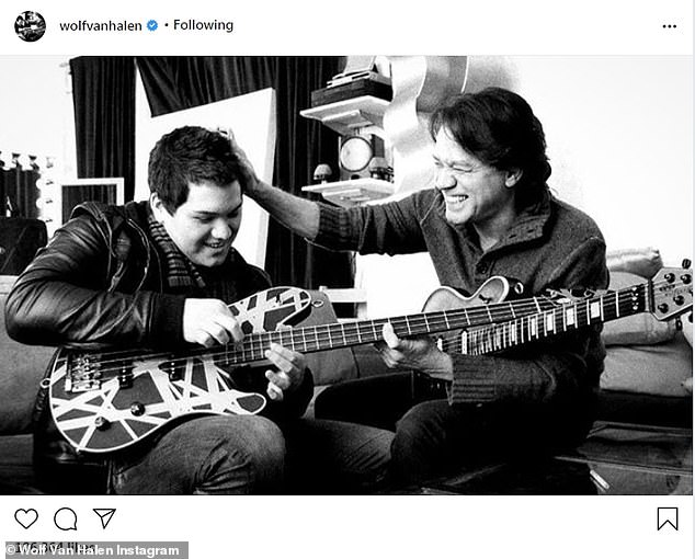 Sweet: Friday's share was the third such black-and-white, captionless image that Wolf, now 29, posted since his father's passing showing the pair together; seen here rehearsing