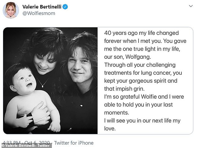 For her part: Valerie shared her own flashback photo, showing her and Eddie as young parents, with baby Wolfie cradled in her arms