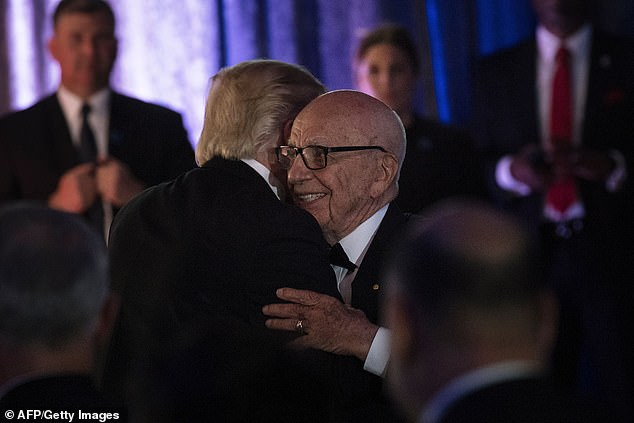 Rupert Murdoch and Trump in 2017. The president has a close relationship to Fox