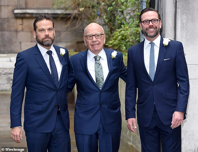 Lachlan, Rupert and James Murdoch (left to right) at Rupert's 2016 wedding to Jerry Hall.Probed on why he does not watch HBO drama Succession, the Emmy award winner said to be modeled on his family dynamics, James added: 'I think you'd find it really easy'