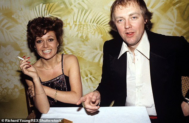 Elaine has a laugh with married lover Tim Rice in 1978 whom she had a well-publicised 11-year affair with