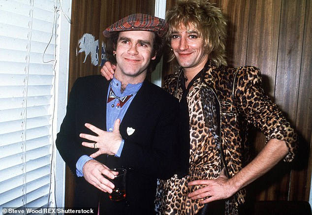Tiff:In an excerpt obtained by the publication, the legendary musician is said to say that Rod had a 'f***ing cheek' lecturing him about 'rock and roll' (pictured together in London in 1978)