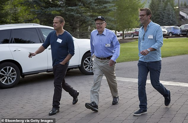 Lachlan, Rupert and James Murdoch (left to right) in 2017.The youngest son of media mogul Rupert Murdoch and his second wife Anna told the New York Times he 'pulled the rip cord' from the family empire because he was 'increasingly uncomfortable' with News Corp and Fox 'legitimizing disinformation' and denying climate change