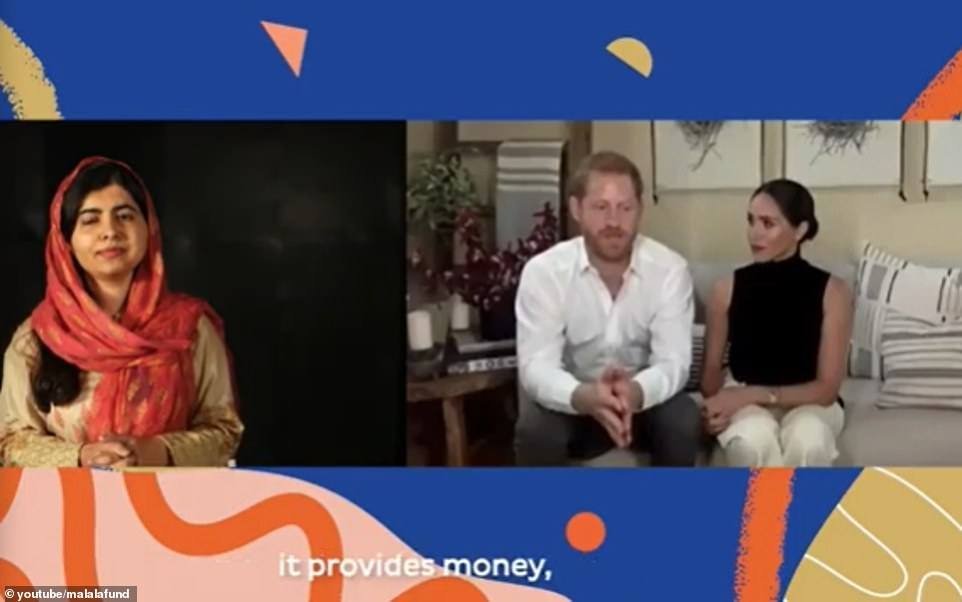 The couple spoke with the Nobel laureate about their own experience of education, with Prince Harry confessing he had 'probably not been grateful' for his schooling as a youngster