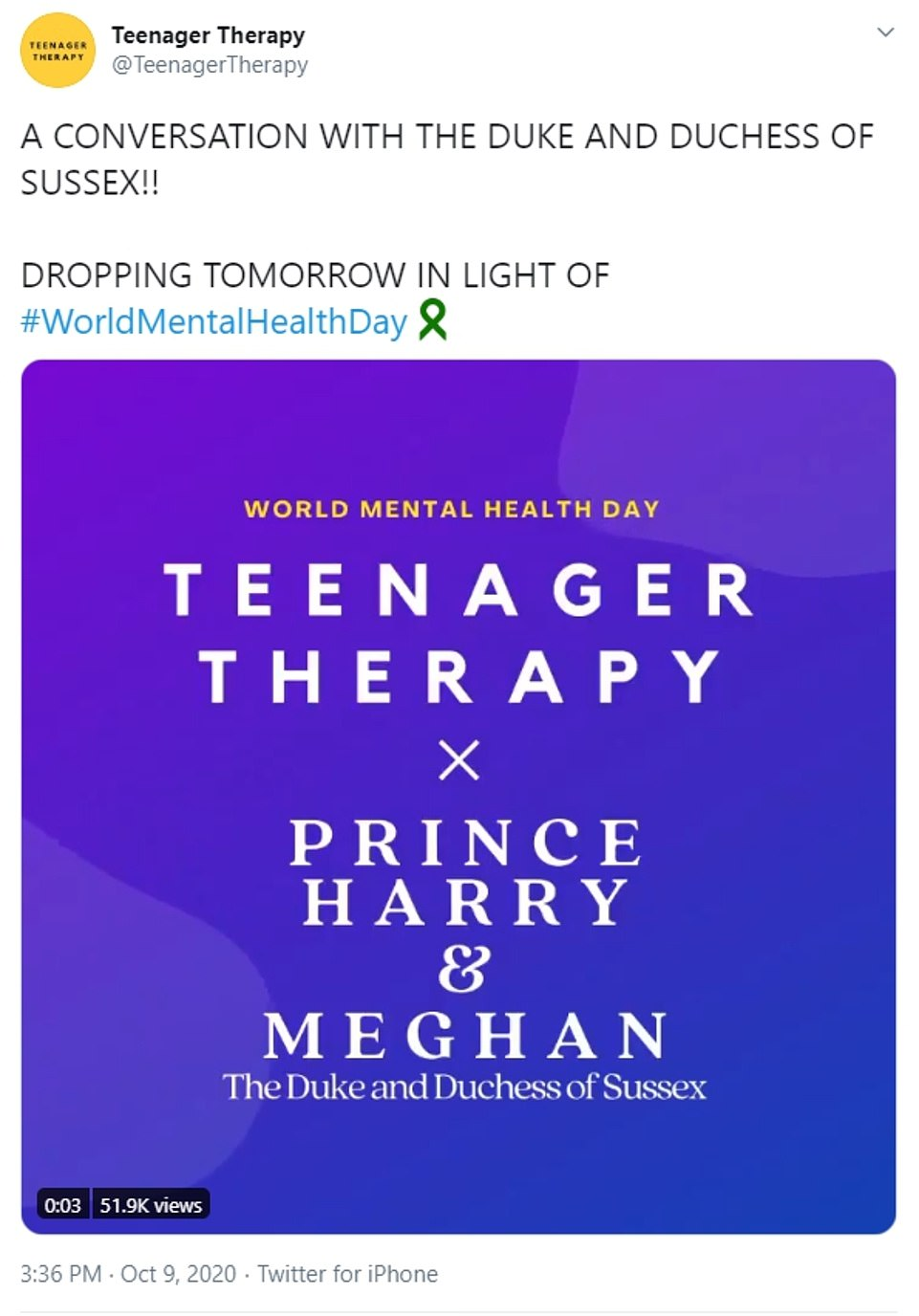 The Teenager Therapy podcast Twitter account shared this tweet ahead of the podcast going live today