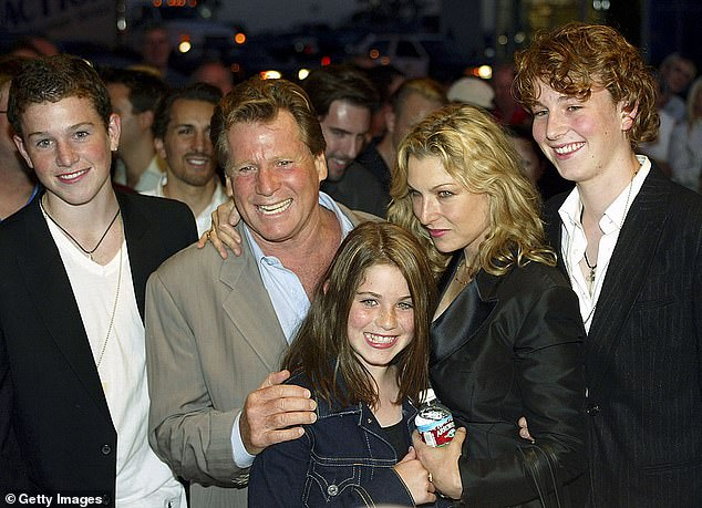Actor Ryan and Tatum are pictured with the actress' children back in 2003