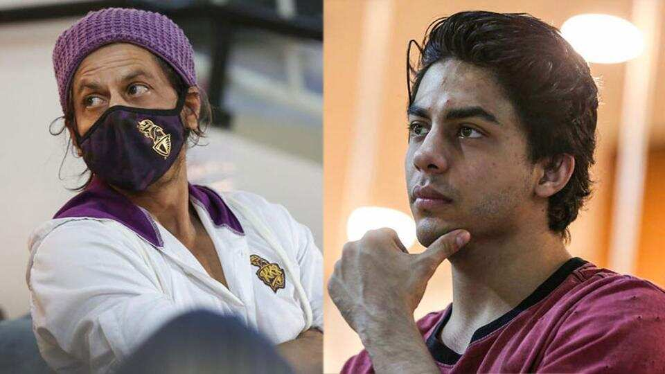 Shah Rukh Khan, son Aryan are deep in conversation as they watch IPL 2020 match between KKR and RCB. See pics
