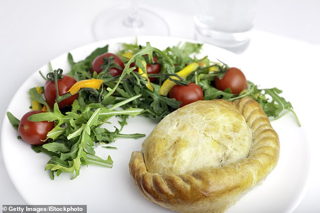 ✓ A Cornish pasty with a side salad on a plate would be considered a 'substantial meal'