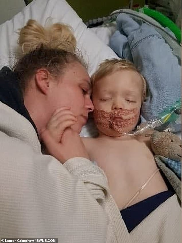 Cobie (pictured in hospital) suffered an irreversible brain injury following a lack of oxygen and, despite desperate attempts to save him, died three days later on April 7
