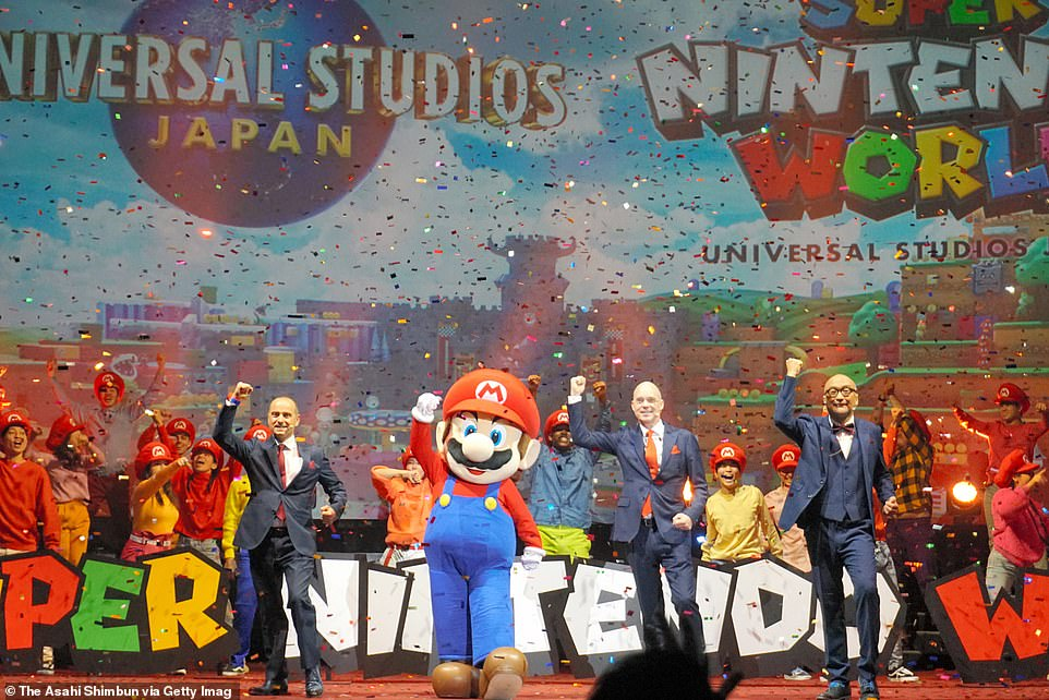 At a press conference in Osaka in January, pictured, it was confirmed that one experience at Super Nintendo World will be based on Super Mario's Mushroom Kingdom Universe