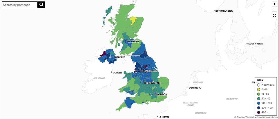 A separate map allows users to check the coronavirus case rate per 100,000 in their local authority