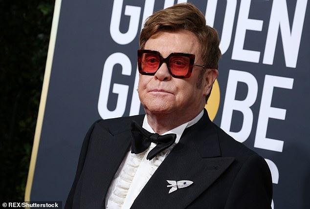'Vocal rest':Yet Rod's manager reportedly told him that he was unable to speak to him as he was on 'constant vocal rest' between touring (Elton pictured in January)
