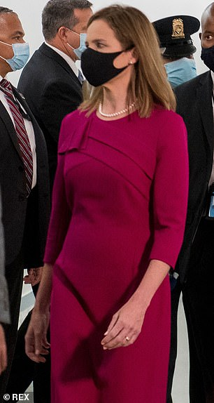 'Alluring': Both of the outfits worn by Barrett had three-quarter length sleeves, which the fashion expert said help to add a 'sexy' edge to a look, without seeming trashy or flagrant