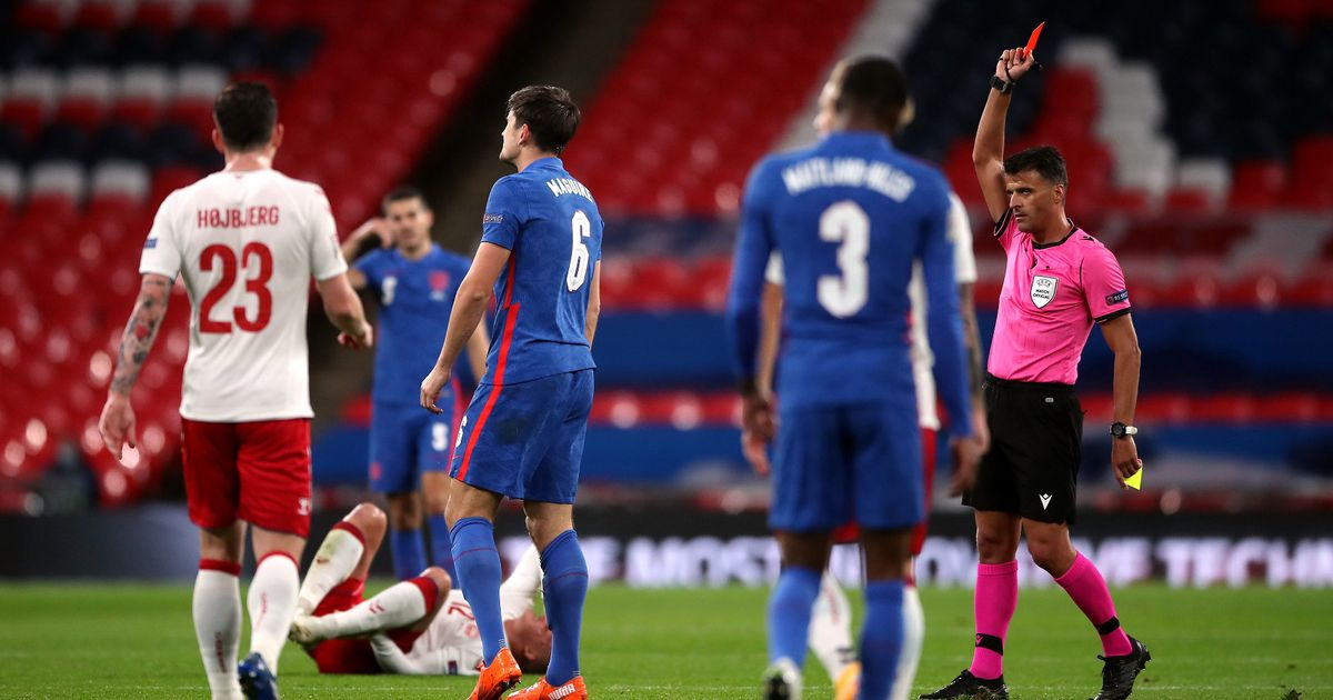 """Gary Neville blasts """"slack and scruffy"""" Harry Maguire after England red card"""