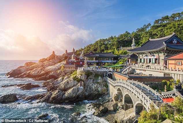 Overseas travel has been banned since March and it remains unclear when it will resume. Pictured: A temple in Busan, South Korea