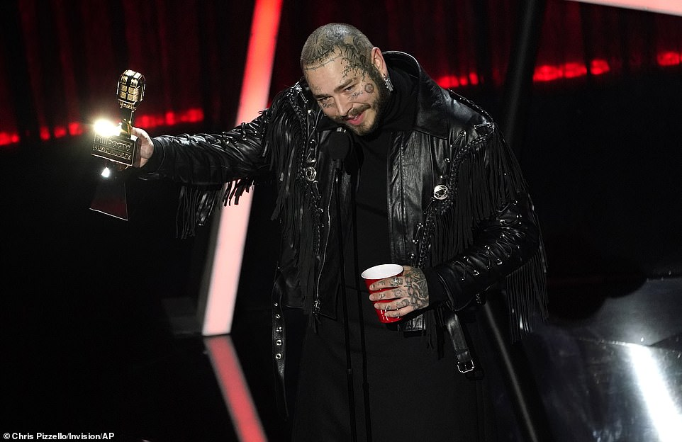 He still loves grapes! Post Malone re-iterated his love of the fruit as he accepted the award for Top Male Artist