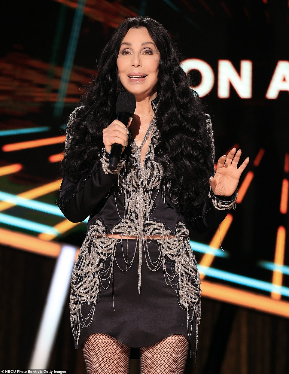 Taking the stage: Cher was proud to present the award to the country superstar