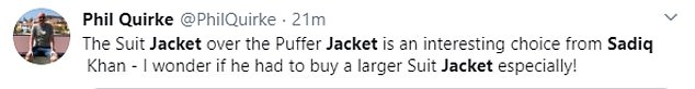 Social media users were in agreement that the 'coat-under-a-blazer situation' was an unconventional fashion choice
