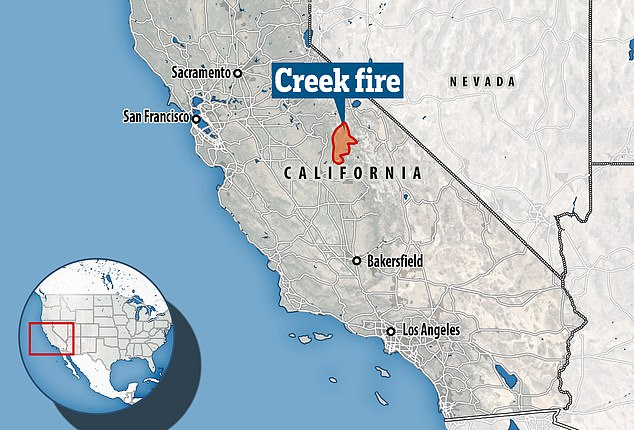 The fire is currently 55 per cent contained and is spread over Fresno County in the south and Madera County in the north
