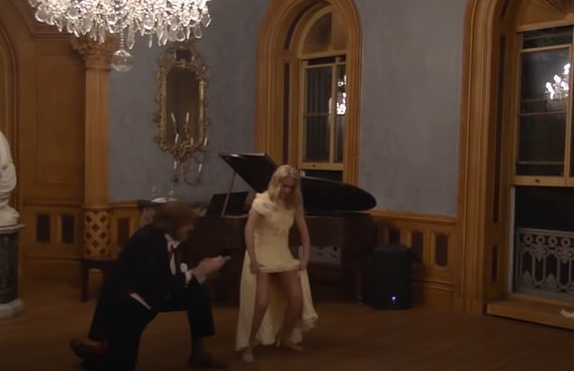 """To wrap up the night the producers announced the Georgian guests wanted to perform an Eastern European folk dance. 'Suddenly the """"daughter"""" lifted her hoop skirt, gyrating and revealing no underwear,' Davis said"""