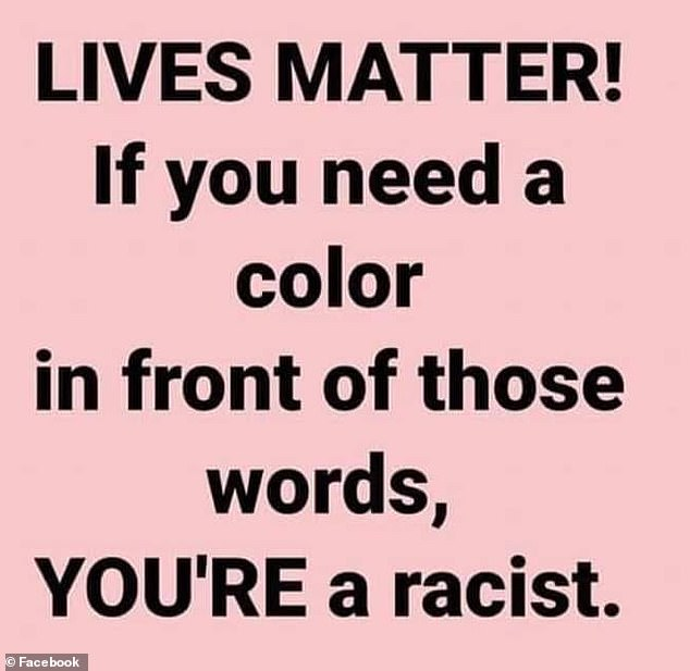 Brisettehas changed his Facebook profile picture to feature a statement which reads: ', 'Lives matter! If you need a color in from of those words, YOU'RE a racist'