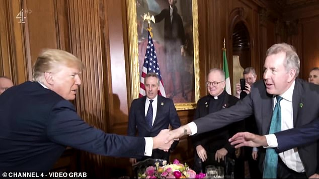 Lord Darroch quit his Washington post in July last year after leaked cables revealed he had branded Mr Trump ¿incompetent¿. Pictured: Donald Trump greets Kim Darroch