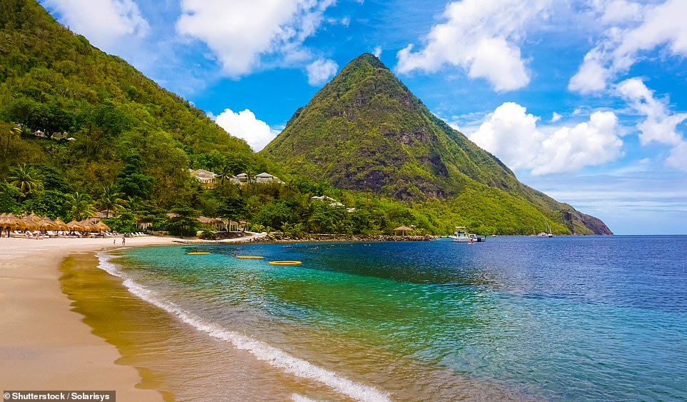 Arrivals on the Caribbean island of St Lucia, pictured, must have a confirmed reservation at Covid-19 certified accommodation