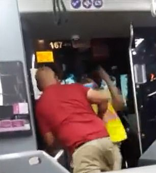 The punches started flying after the passenger nudged the plastic safety screen towards the driver