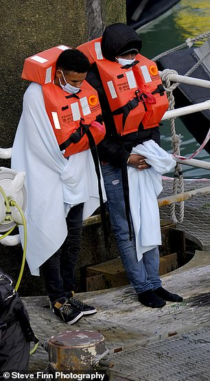 Yesterday Border Force officers detained 170 migrants trying to cross the English Channel in small boats in 12 incidents on Saturday -the largest number to attempt the crossing so far this month