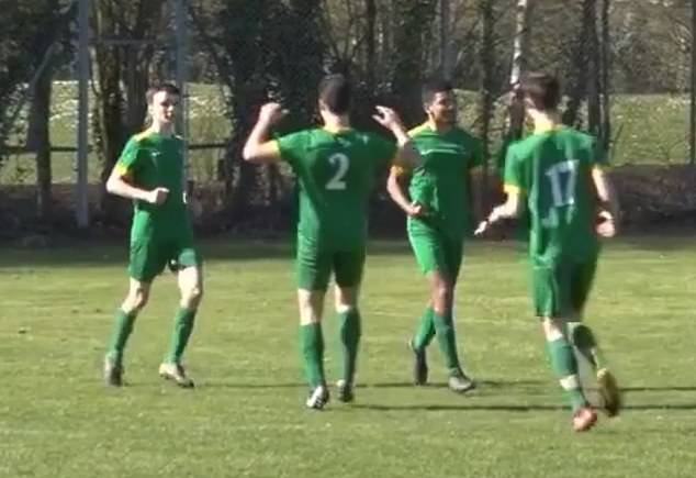 Finn Kitson, left, joins his Cambridge Celts team mates to celebrate him scoring a goal, in a video shared by the team's manager Nic Mitham